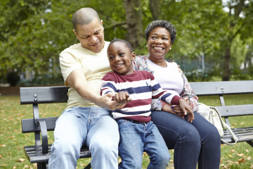 Mum, dad and son on park bench