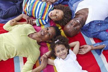 Family on picnic rug