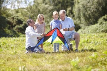 Family using kite