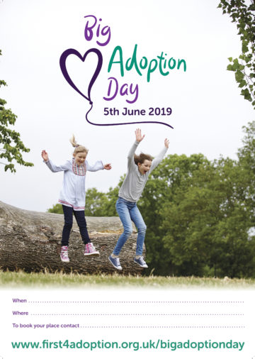Big Adoption Day Poster – Girls jumping (with information lines)