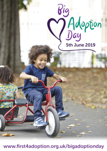 Big Adoption Day Poster – Boy on a tricycle (with web address)