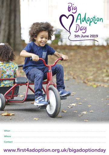 Big Adoption Day Poster – Boy on a tricycle (with information lines)